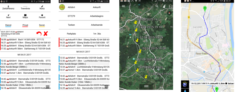 ... Position Des Autos (Parkplatz) Speichern Und Mit Google Maps  Wiederfinden, Professionelles GPS Fahrtenbuch. Automatischer  Fahrtenschreiber Mit GPS.